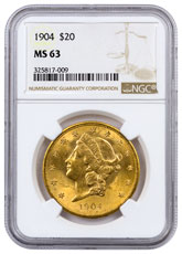 1904 Liberty Head $20 Gold Double Eagle NGC MS63