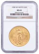 1908 Saint-Gaudens (No Motto) $20 Gold Double Eagle NGC MS65