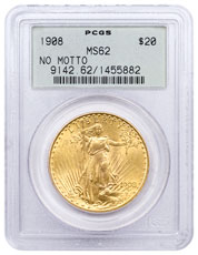 1908 Saint-Gaudens $20 Gold Double Eagle (No Motto) PCGS MS62