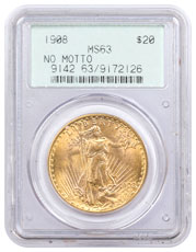 1908 Saint-Gaudens (No Motto) $20 Gold Double Eagle PCGS MS63 Old Green Holder