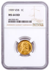 1909 Lincoln Cent NGC MS64 VDB RD