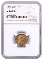 1909 Lincoln Cent NGC MS65 VDB BN