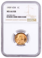 1909 Lincoln Cent NGC MS66 VDB RB