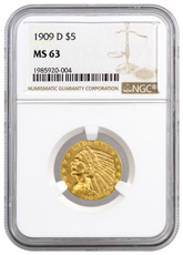 1909-D Indian Head $5 Gold Half Eagle NGC MS63