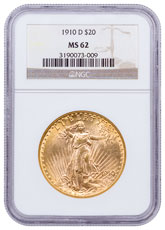 1910-D Saint-Gaudens $20 Gold Double Eagle NGC MS62