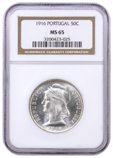 1916 Portugal Silver 50 Centavos NGC MS65