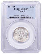 1917-D Silver Standing Liberty Quarter PCGS MS64 Full Head, Type 1