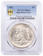 1921 Silver Peace Dollar PCGS MS63