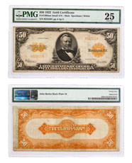 1922 $50 Gold Certificate - Small S/N Mule Fr#1200am PMG VF25