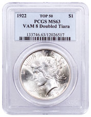 1922 Silver Peace Dollar Top 50 PCGS MS63 VAM-8 Doubled Tiara