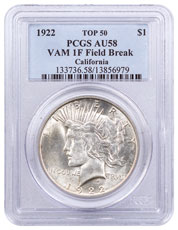 1922 Silver Peace Dollar Top 50 PCGS AU58 VAM-1F Field Break California