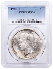1922-D Silver Peace Dollar PCGS MS64