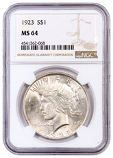 1923 Silver Peace Dollar NGC MS64