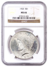 1923 Silver Peace Dollar NGC MS66