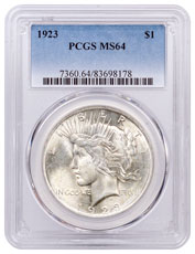 1923 Silver Peace Dollar PCGS MS64