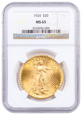 1924 Saint-Gaudens $20 Gold Double Eagle NGC MS65 Brown Label