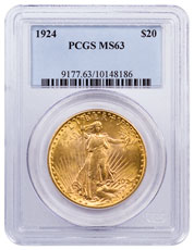 1924 Saint-Gaudens $20 Gold Double Eagle PCGS MS63