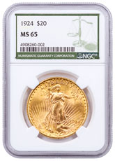 1924 Saint-Gaudens $20 Gold Double Eagle NGC MS65 Green Label