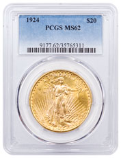 1924 Saint-Gaudens $20 Gold Double Eagle With Motto PCGS MS62
