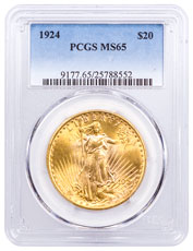 1924 Saint-Gaudens $20 Gold Double Eagle PCGS MS65