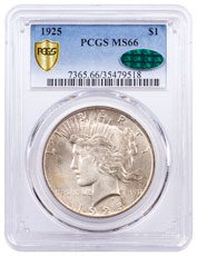1925 Silver Peace Dollar PCGS MS66 CAC