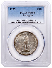 1775-1925-P Lexington-Concord Sesquicentennial Commemorative Silver Half Dollar Coin PCGS MS66