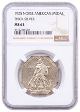 1925 United States Norse American Medal Thick Silver Medal NGC MS62 Brown Label