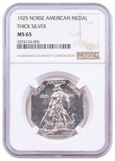 1925 United States Norse American Medal Thick Silver Medal NGC MS65 Brown Label