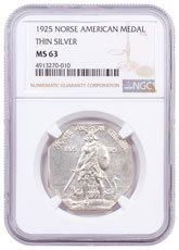 1925 United States Norse American Medal Thin Silver Medal NGC MS63