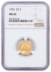 1926 Indian Head $2.50 Gold Quarter Eagle NGC MS62