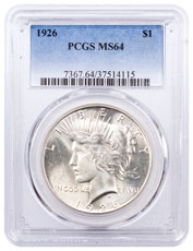 1926 Silver Peace Dollar PCGS MS64