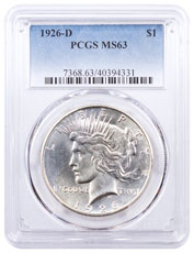 1926-D Silver Peace Dollar PCGS MS63