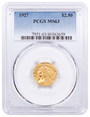 1927 Indian Head $2.50 Gold Quarter Eagle PCGS MS63