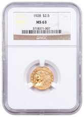 1928 Indian Head $2.50 Gold Quarter Eagle NGC MS63