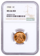 1930 Lincoln Cent NGC MS66 RD