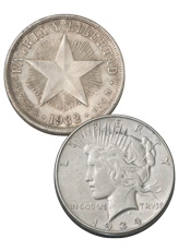 2-Coin Set - 1932-1934 Cuban Star Peso Silver Coins Plus 1934-P Peace Dollar VF-XF