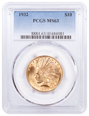 1932 Indian Head $10 Gold Eagle PCGS MS63