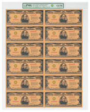 (2018) $10,000 Gold Certificate - Smithsonian Edition 1934 (Treasury Specimen Sheet) PMG GEM