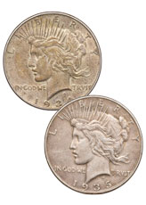 2-Coin Set - 1934 + 1935 Silver Peace Dollar XF