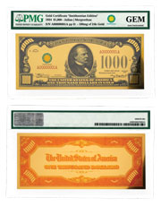 $1,000 24K Gold Certificate - Smithsonian Edition 1934 PMG GEM
