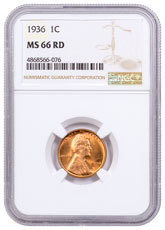 1936 Lincoln Cent NGC MS66 RD