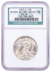 1943-D Silver Walking Liberty Half Dollar NGC MS66 Nevada Silver Collection Label