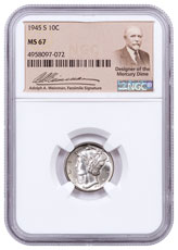 1945-S Silver Mercury Dime NGC MS67 Exclusive Weinman Label