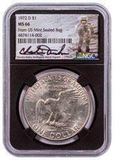1972-D Eisenhower Dollar From US Mint Sealed Bag NGC MS66 Black Core Holder Charlie Duke Signed label