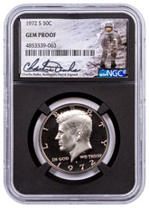 1972-S Clad Proof Kennedy Half Dollar NGC GEM Proof Black Core Holder Charlie Duke Signed label