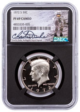 1972-S Clad Proof Kennedy Half Dollar NGC PF69 Cameo Black Core Holder Charlie Duke Signed label