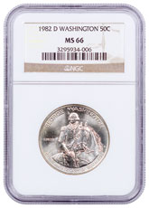 1982-D George Washington Commemorative Silver Half Dollar NGC MS66