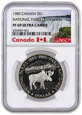 1985 Canada National Parks Centennial - Silver Moose Silver Proof $1 Coin NGC PF69 UC (Exclusive Canada Label)