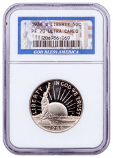 1986-S Statue of Liberty Commemorative Half Dollar Proof NGC PF70 UC God Bless America Label