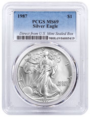 1987 American Silver Eagle Direct from U.S Mint Sealed Box PCGS MS69